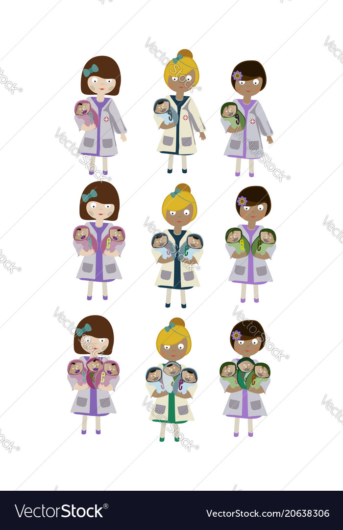 A set of characters an obstetrician nurse holding Vector Image