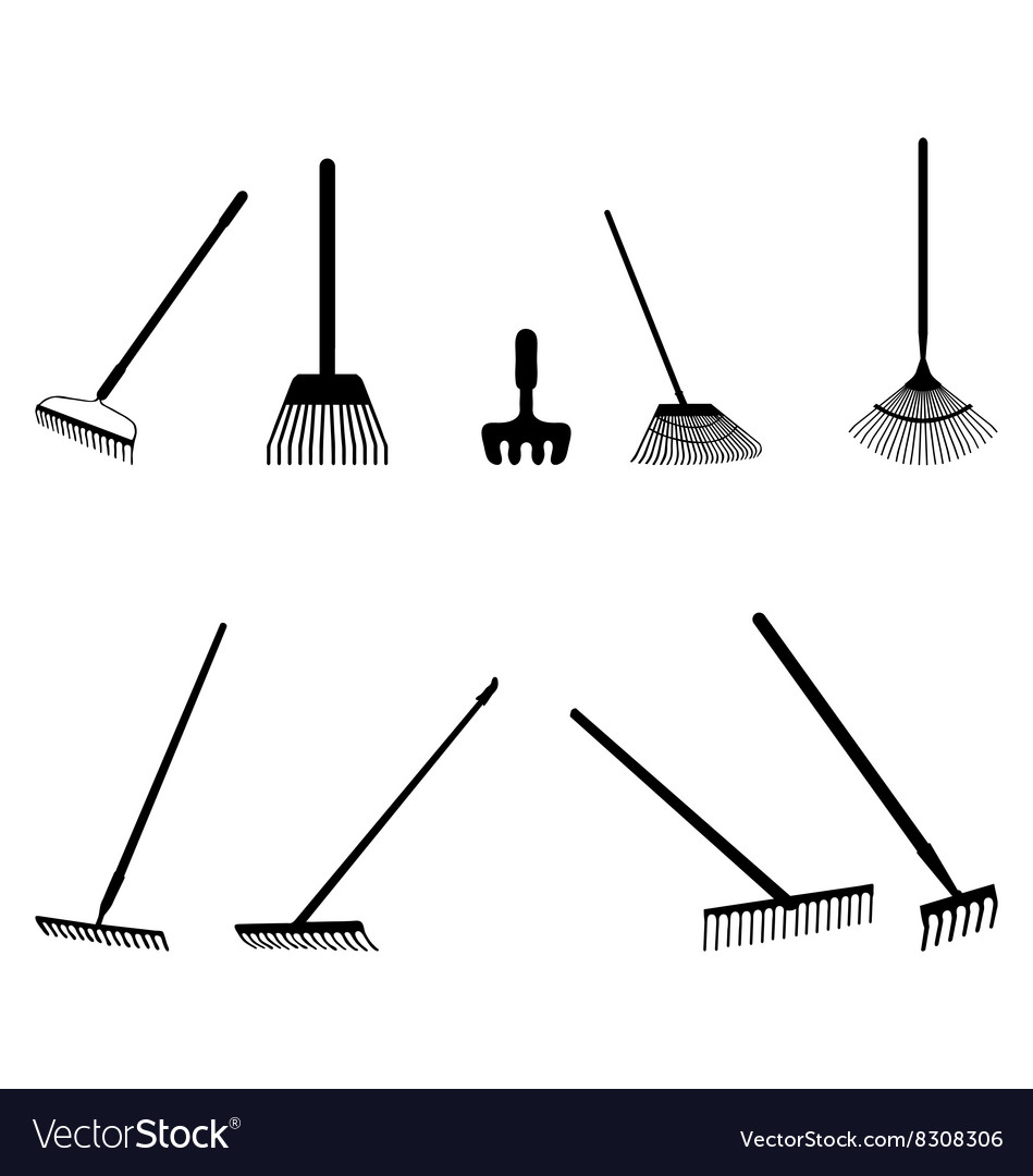 Silhouettes of rake vector image
