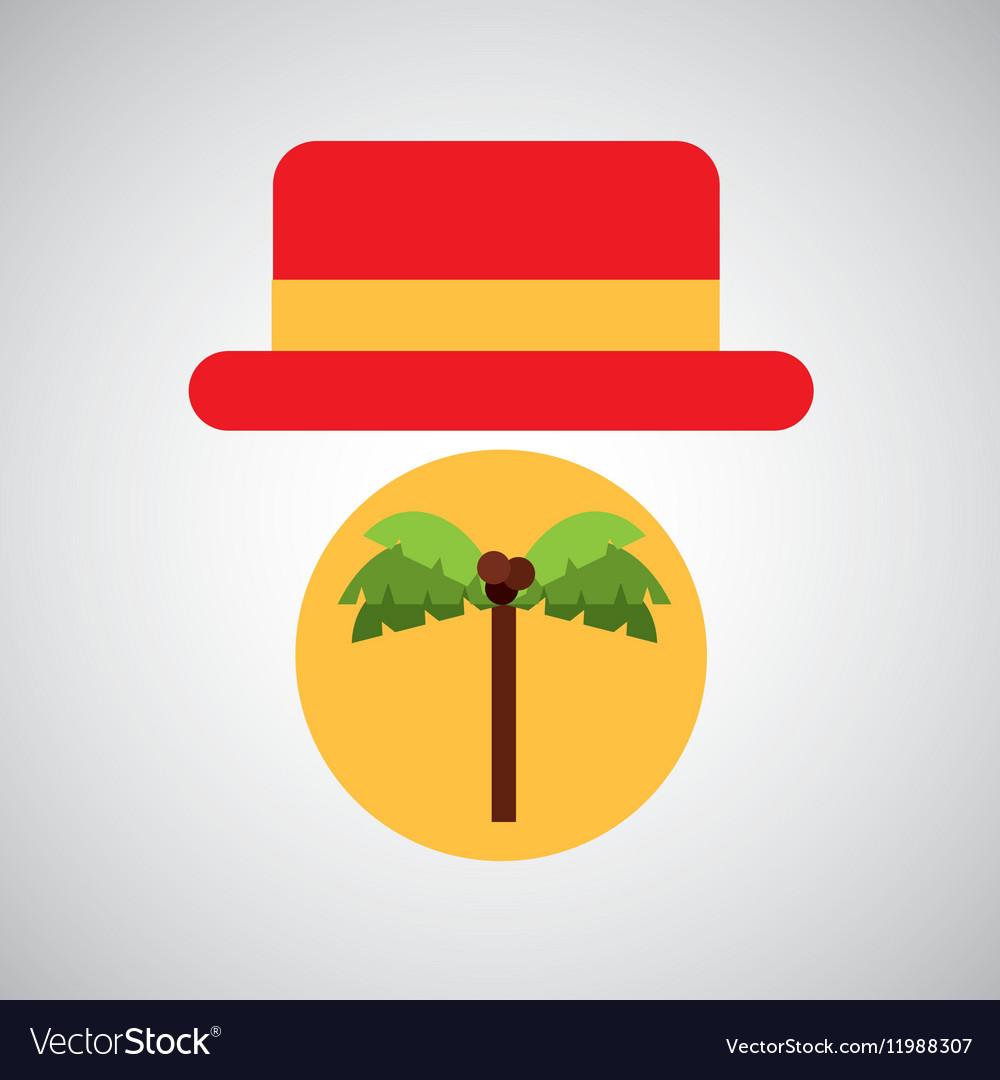 Travel tourist hat concept coconut tree vector image