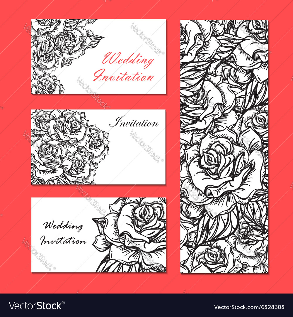 Hand Drawn Wedding Rose Invitation Royalty Free Vector Image