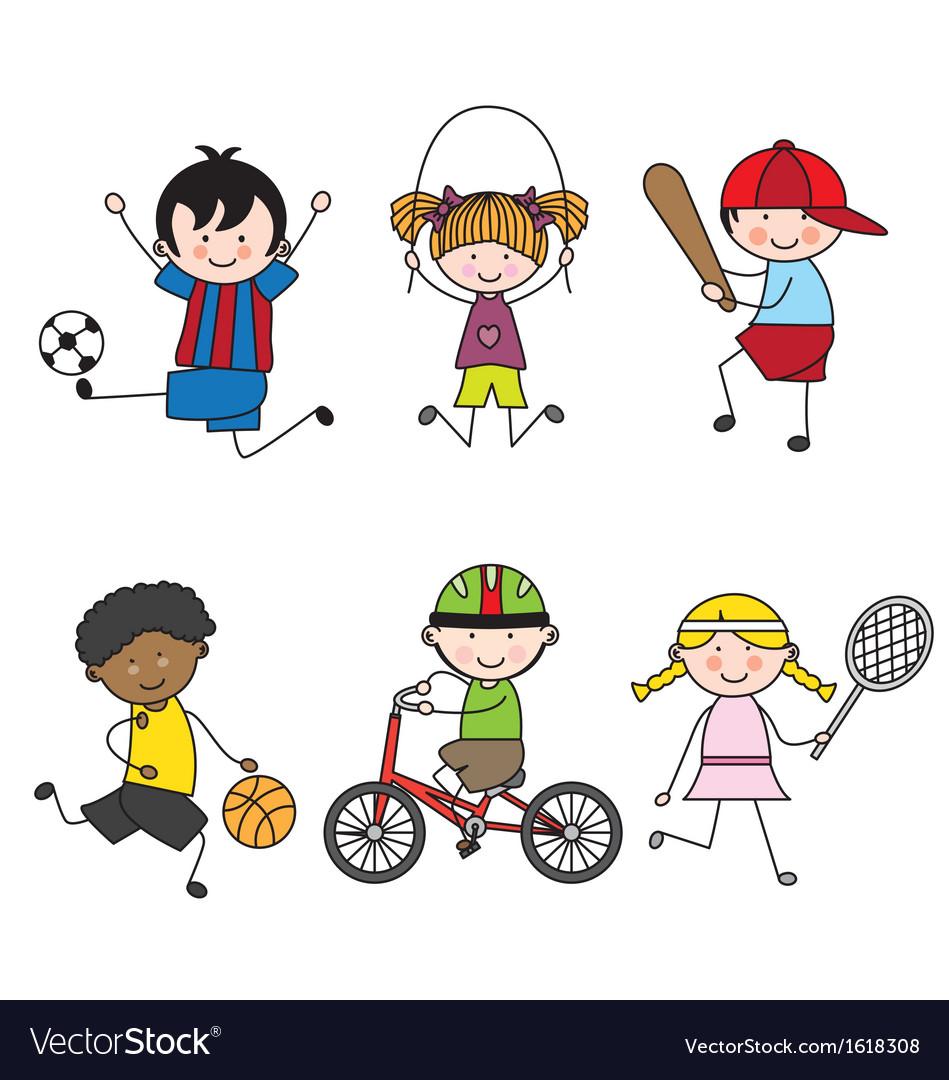 Set of cartoon sport icons vector image