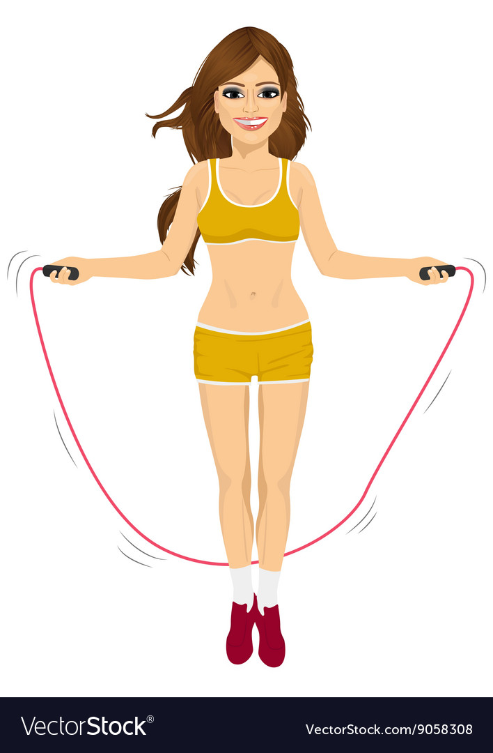 Young fitness woman jumping rope vector image