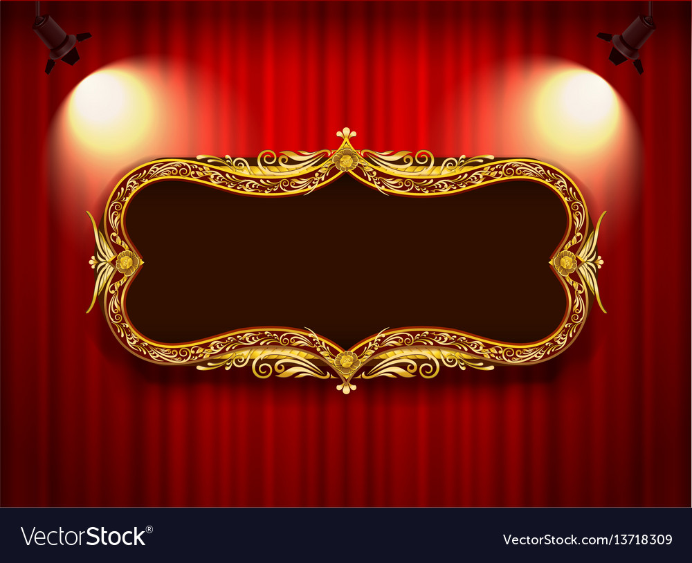 Gold frame floral classic style vector image