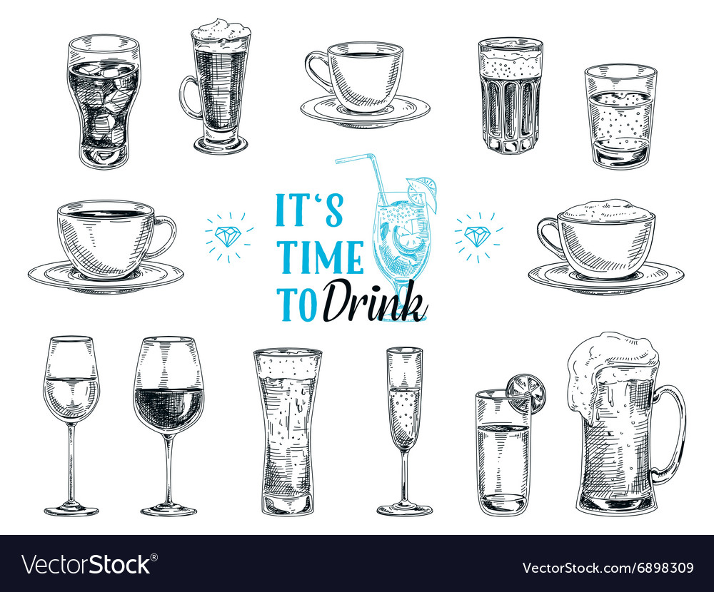 Hand drawn with drinks vector image