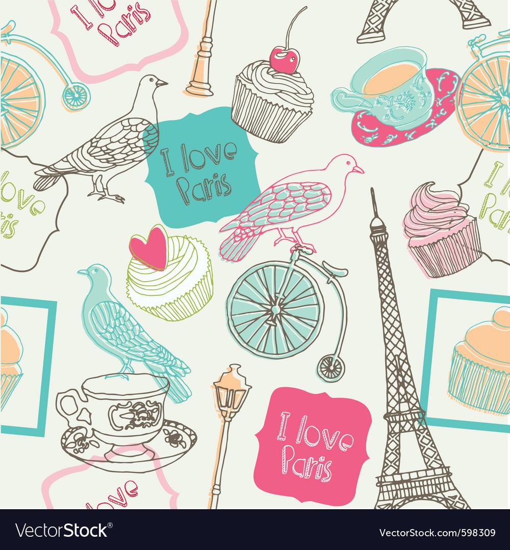 Love paris vector image