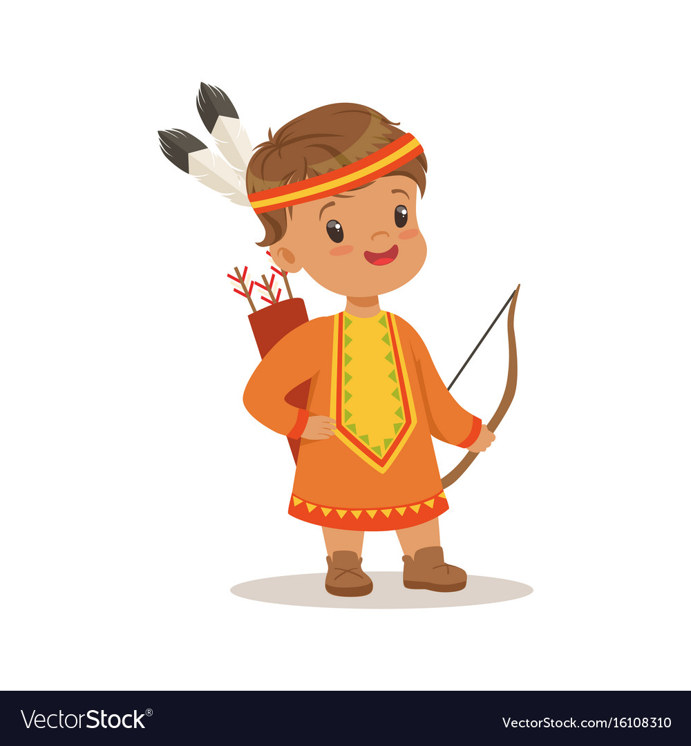 Boy wearing native national costume of american vector image