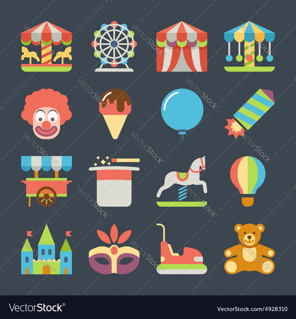 Carnival in amusement park flat icons vector image