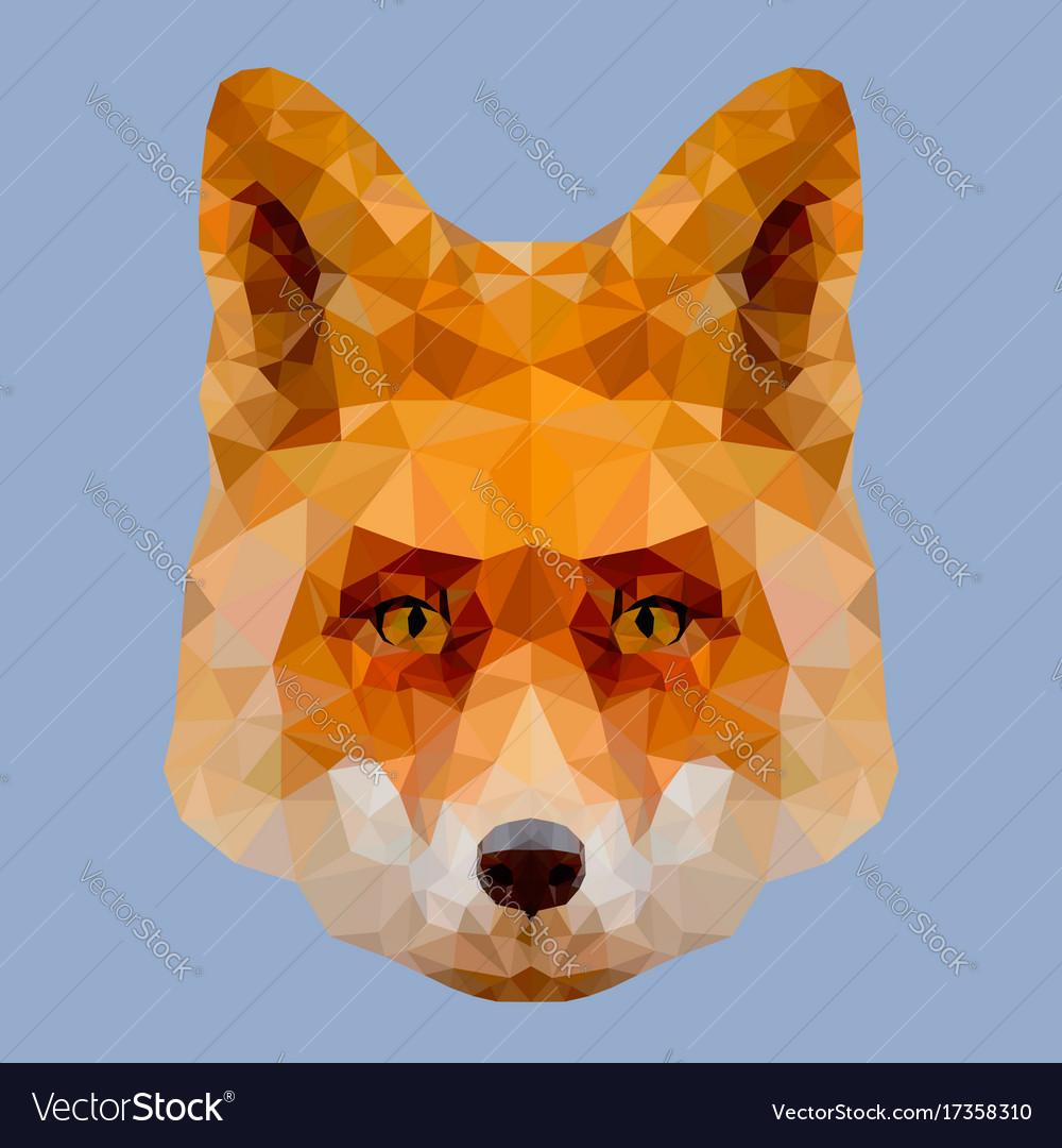 Low poly fox head vector image