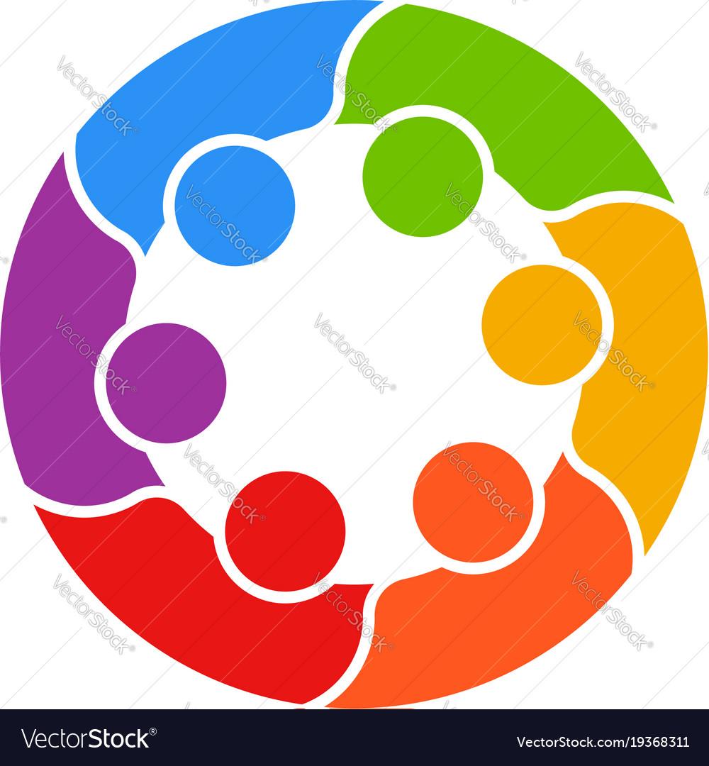 Meeting people circle business logo vector image