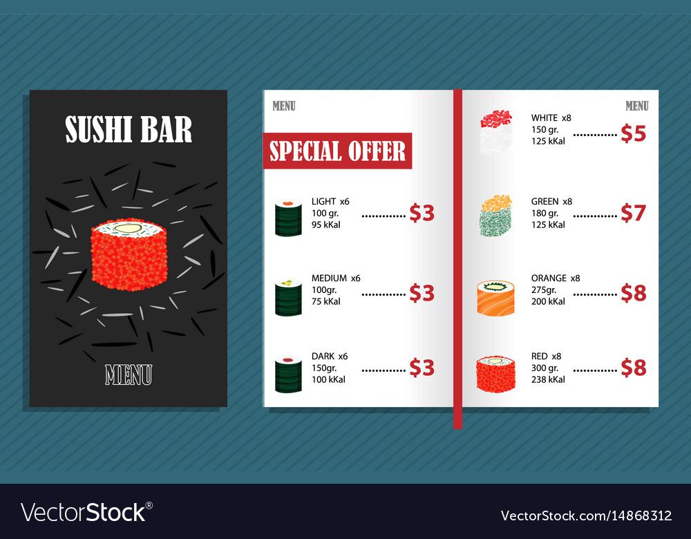Colorful japanese bar menu template vector image