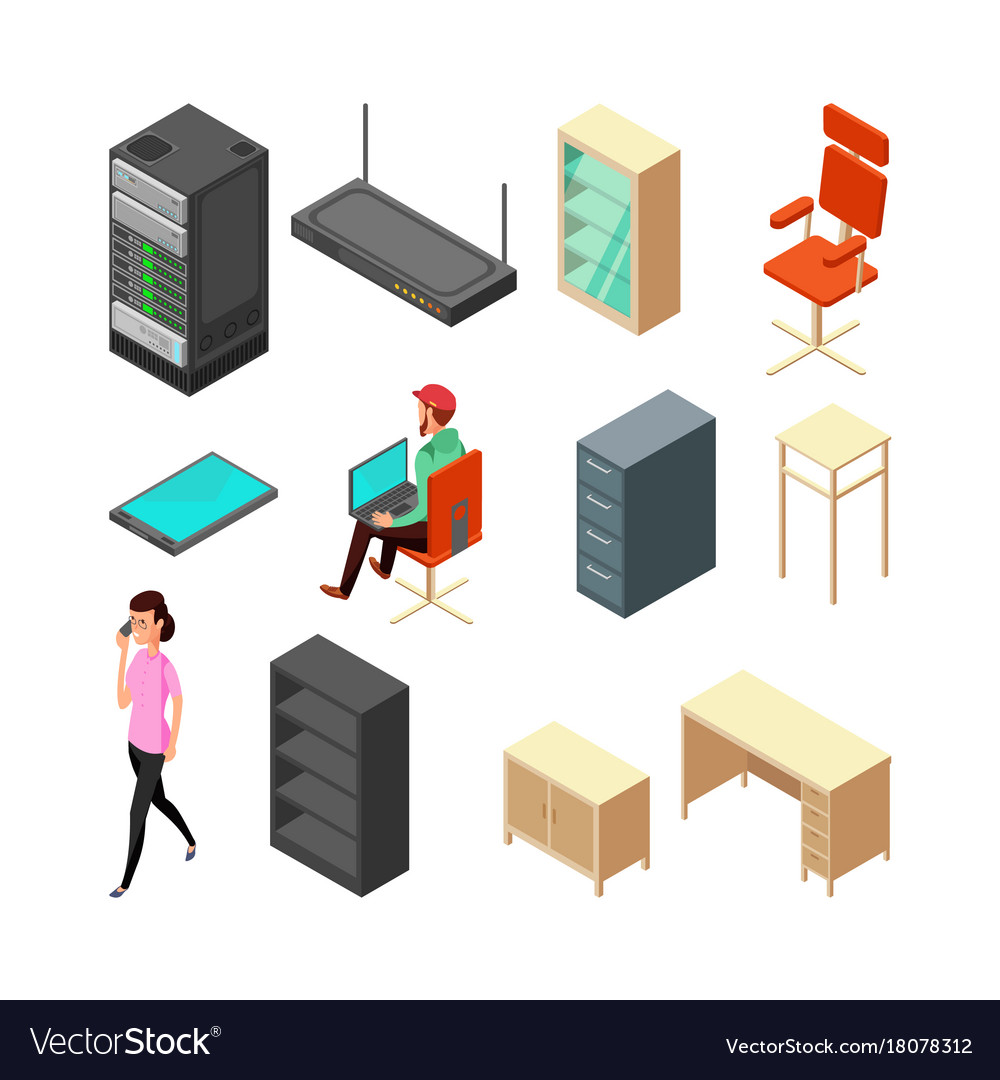 Set of office isometric icons server armchair vector image
