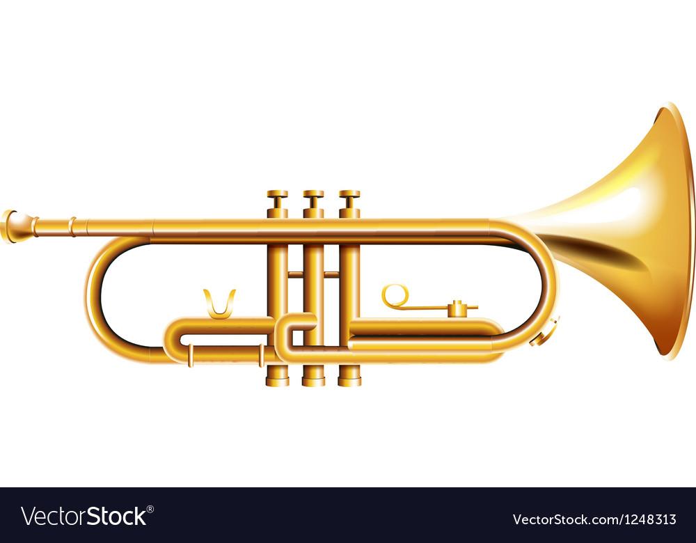 A golden trumpet vector image