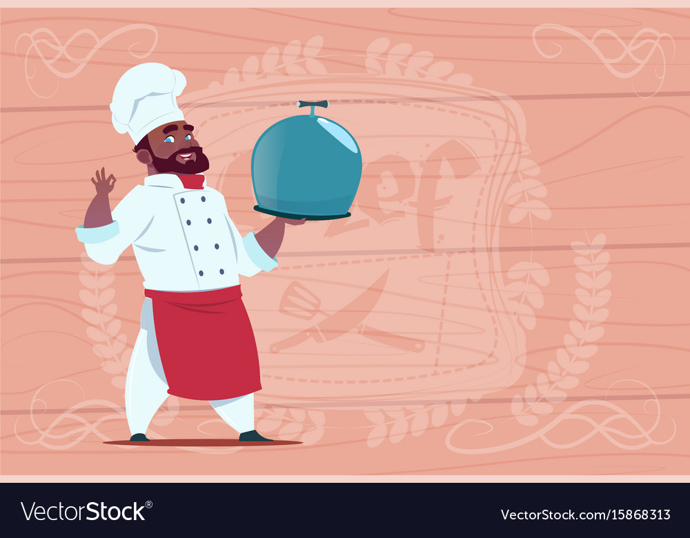 African american chef cook holding tray with dish vector image