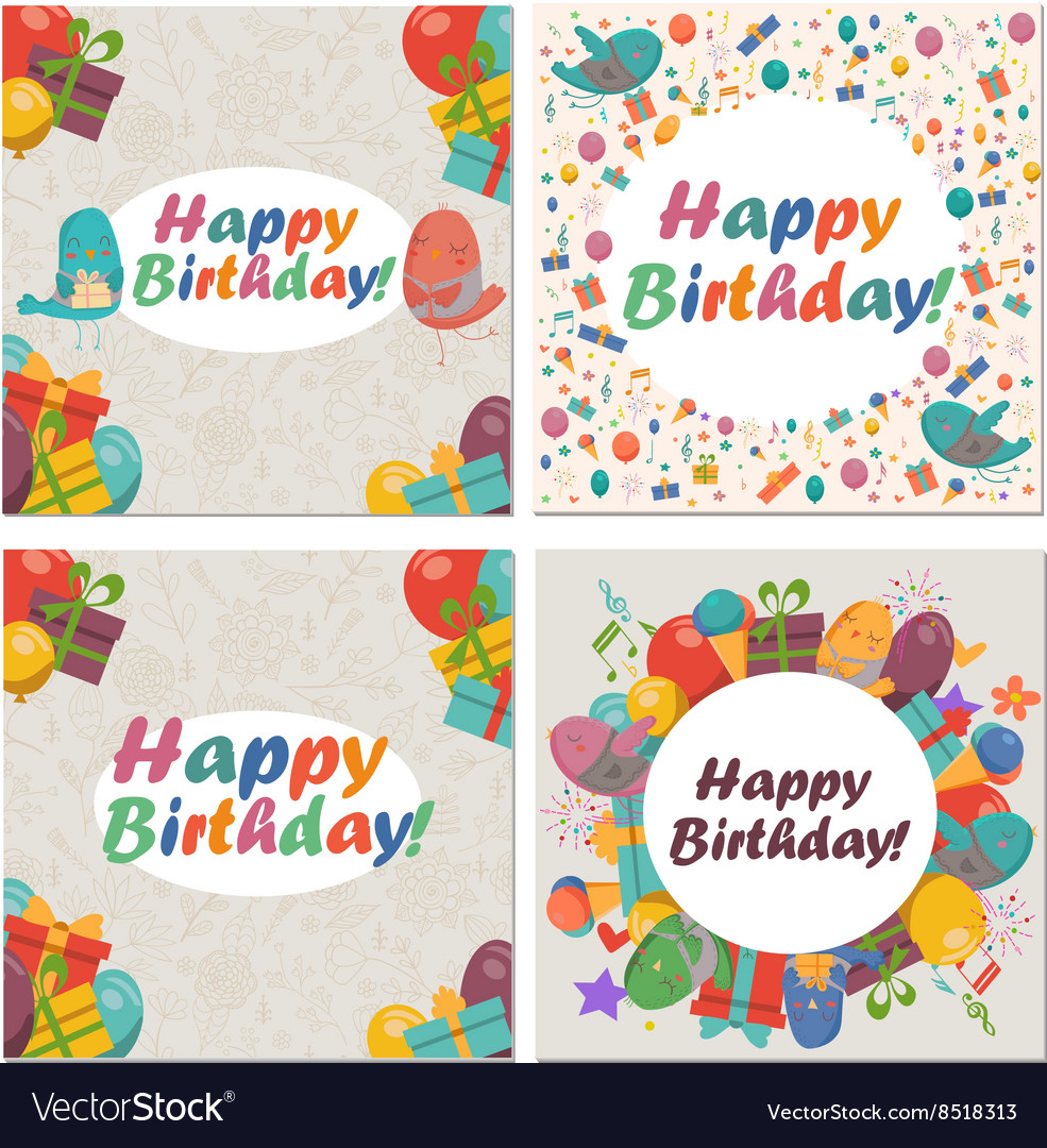 Set of Birthday card with cute birdsflowers and vector image