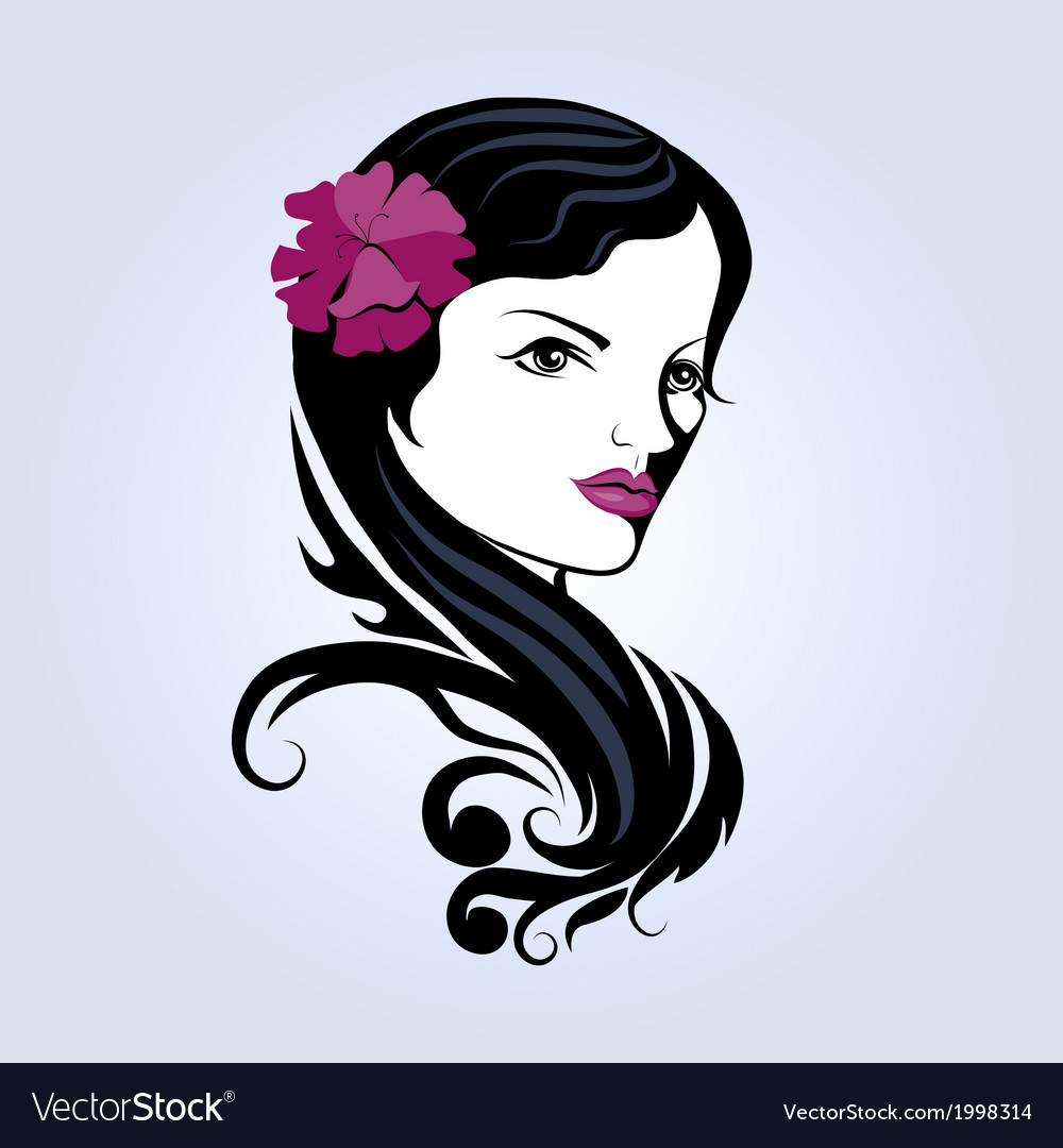 Portrait of beautiful young girl vector image