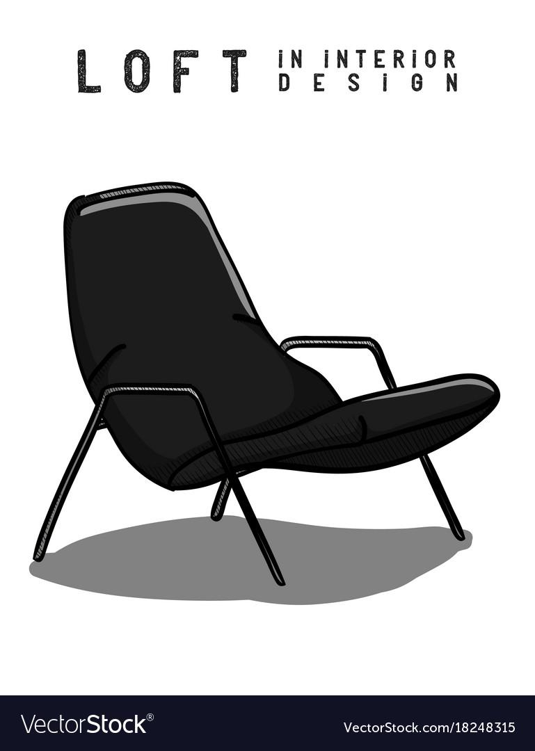 Armchair in gray and black color loft in interior vector image