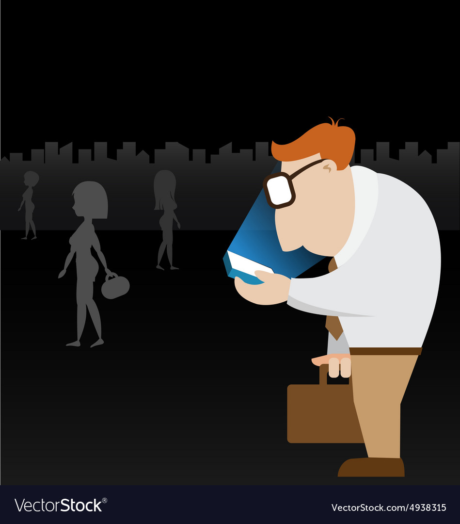 Businessman walk in city and using his mobile vector image