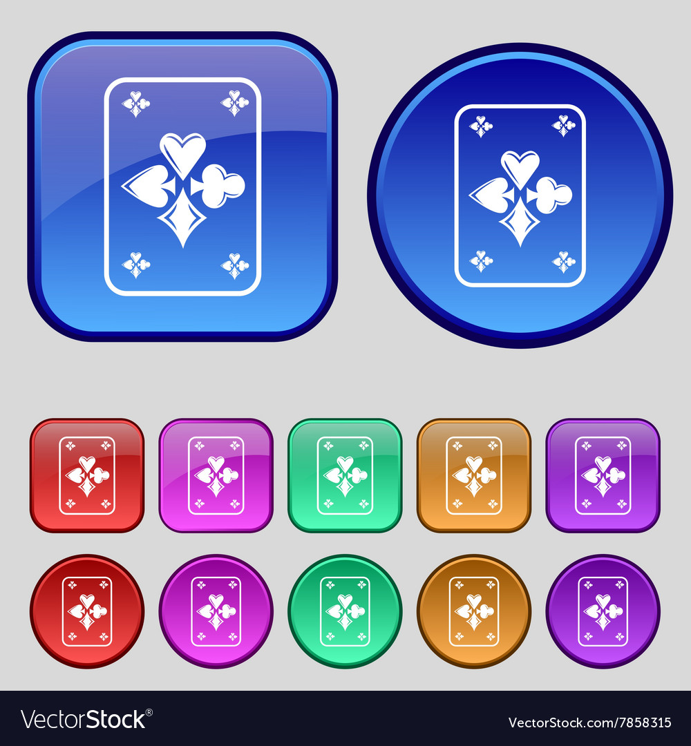 Game cards icon sign A set of twelve vintage vector image