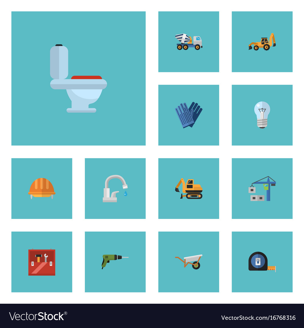 Flat icons excavator bulb hardhat and other vector image