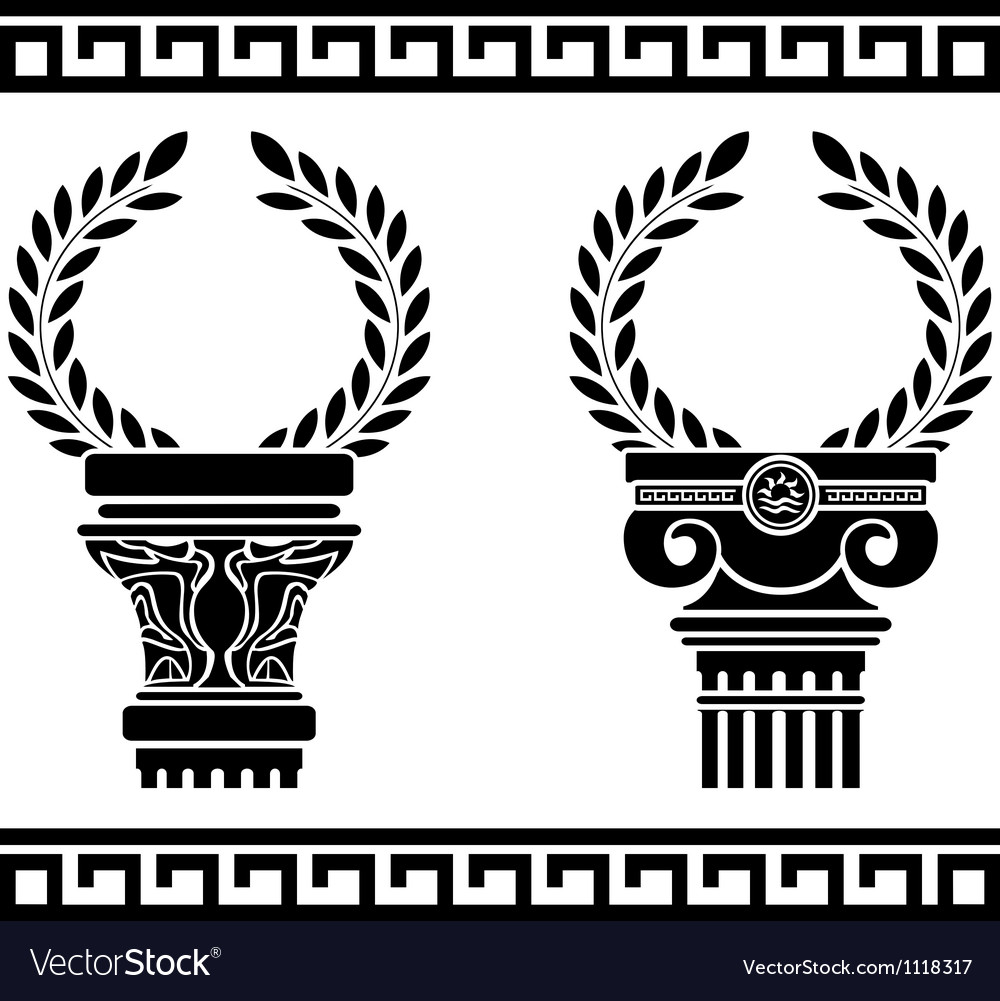 Greek columns with wreaths stencil vector image