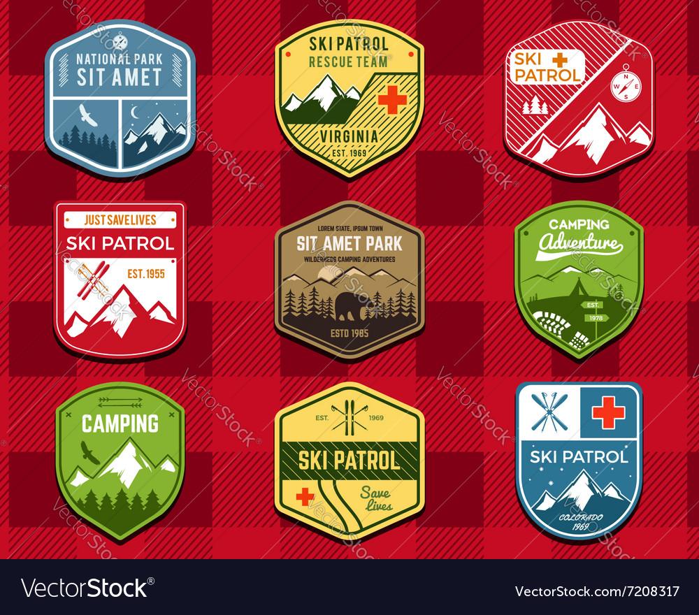 Set of Ski Club Patrol Labels Retro Mountain vector image
