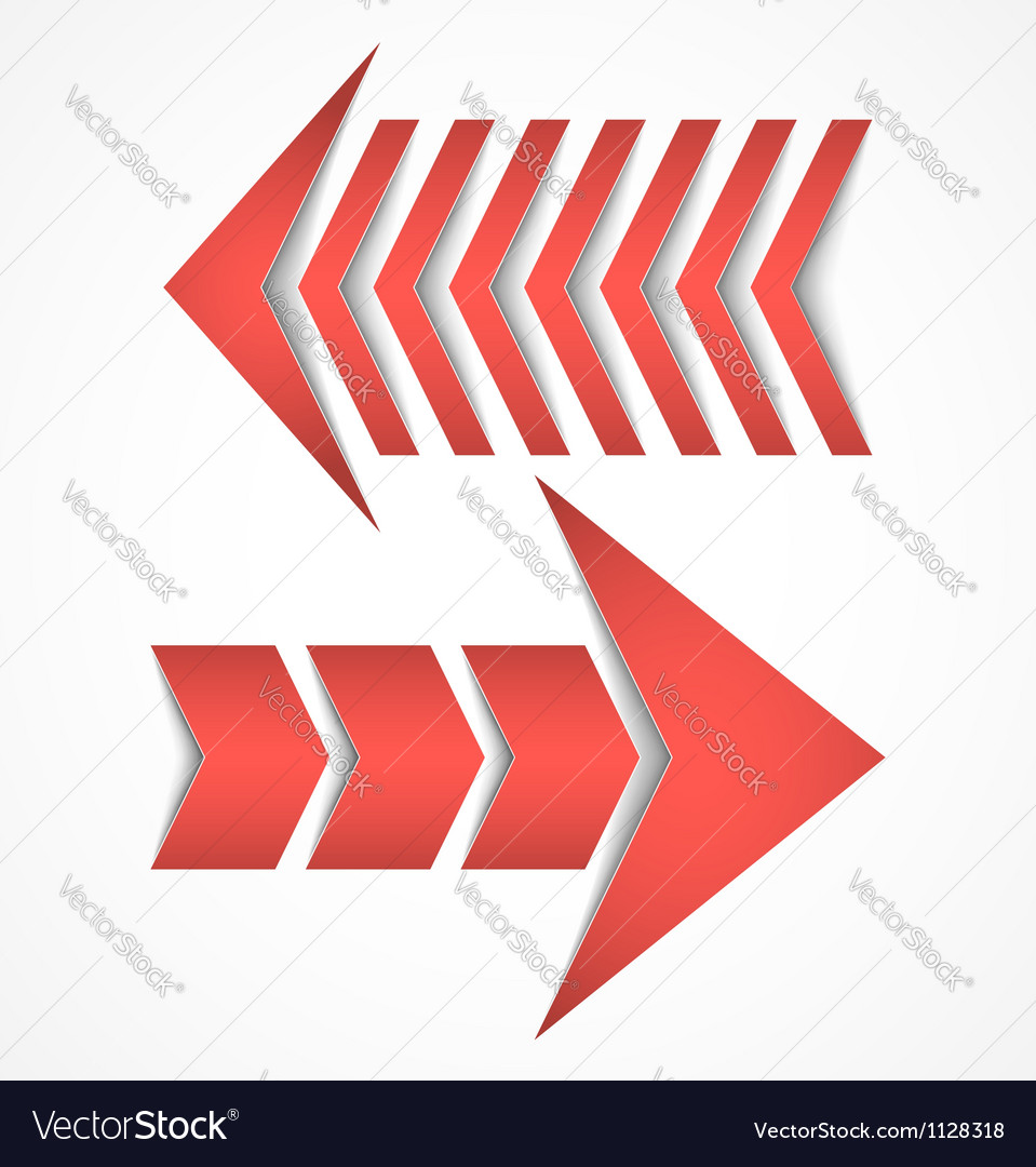 Two red arrows concept designs vector image
