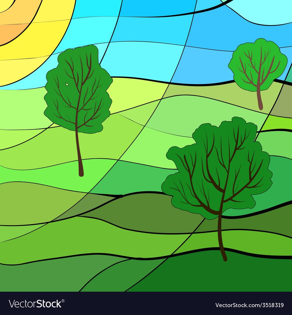 Summer landscape vector image