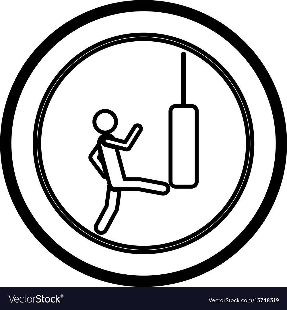 Symbol person kicking a punching bag vector image