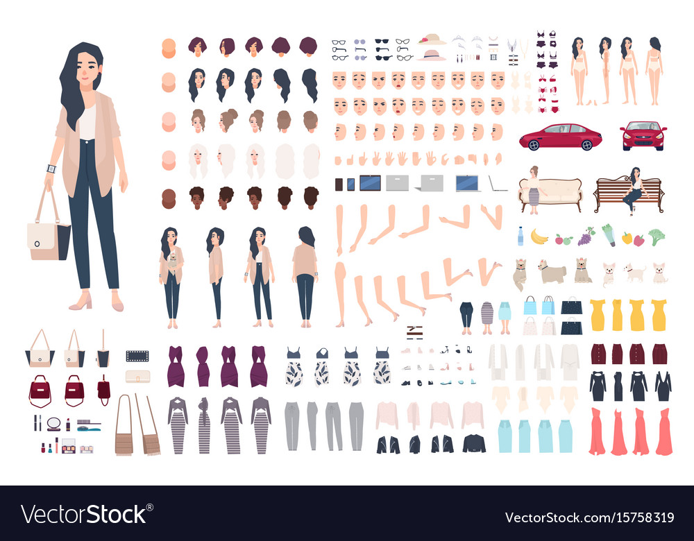 Young lady character constructor trendy girl vector image
