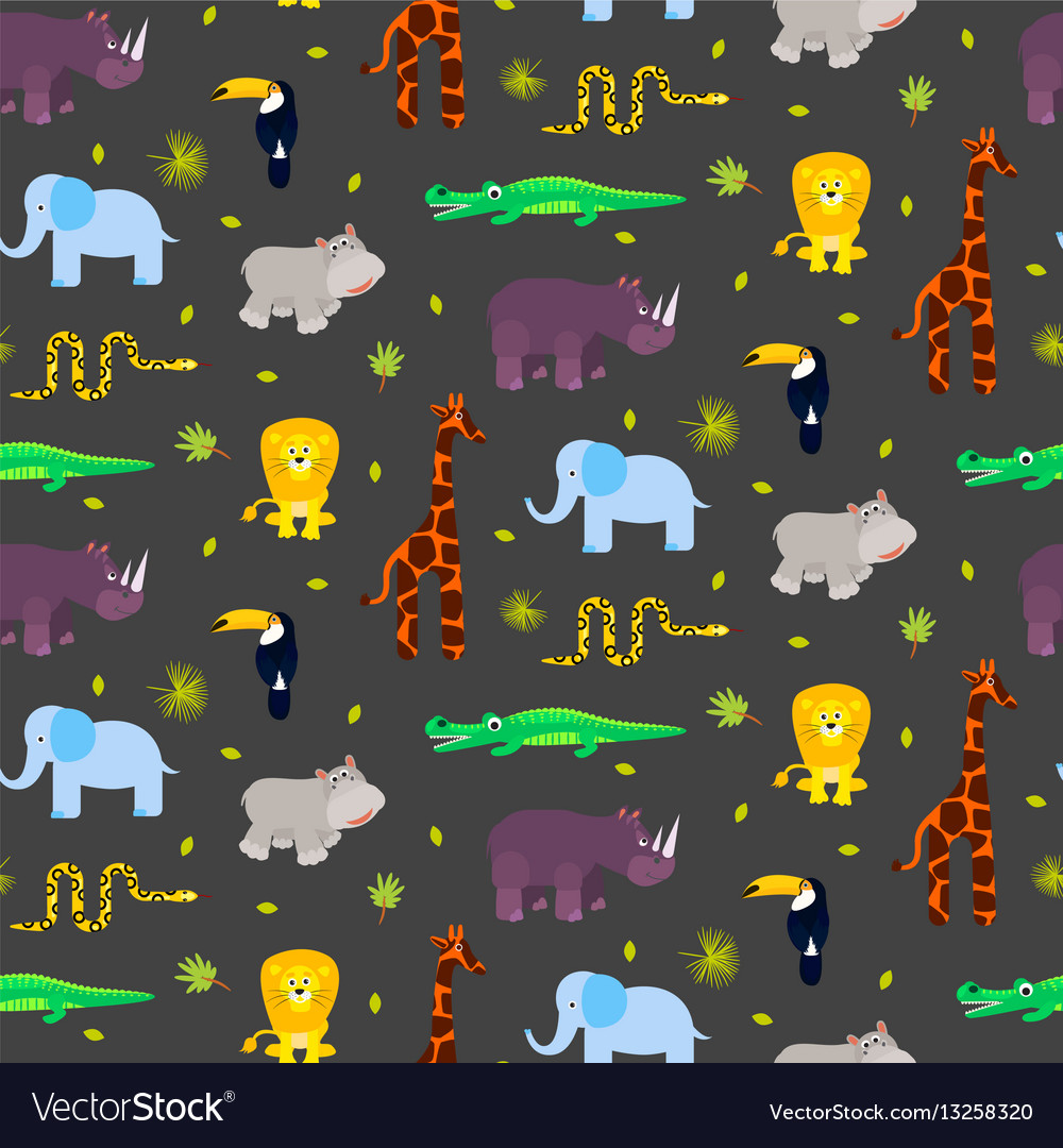 Zoo animals kid seamless pattern vector image