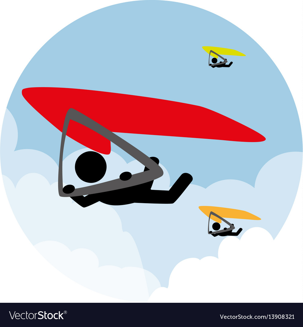 Circular landscape with man in paragliding vector image