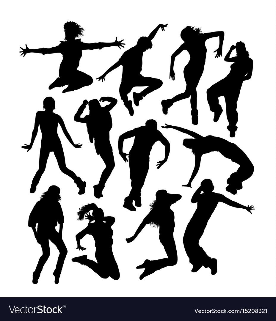 Happy hip hop dancer activity silhouettes vector image