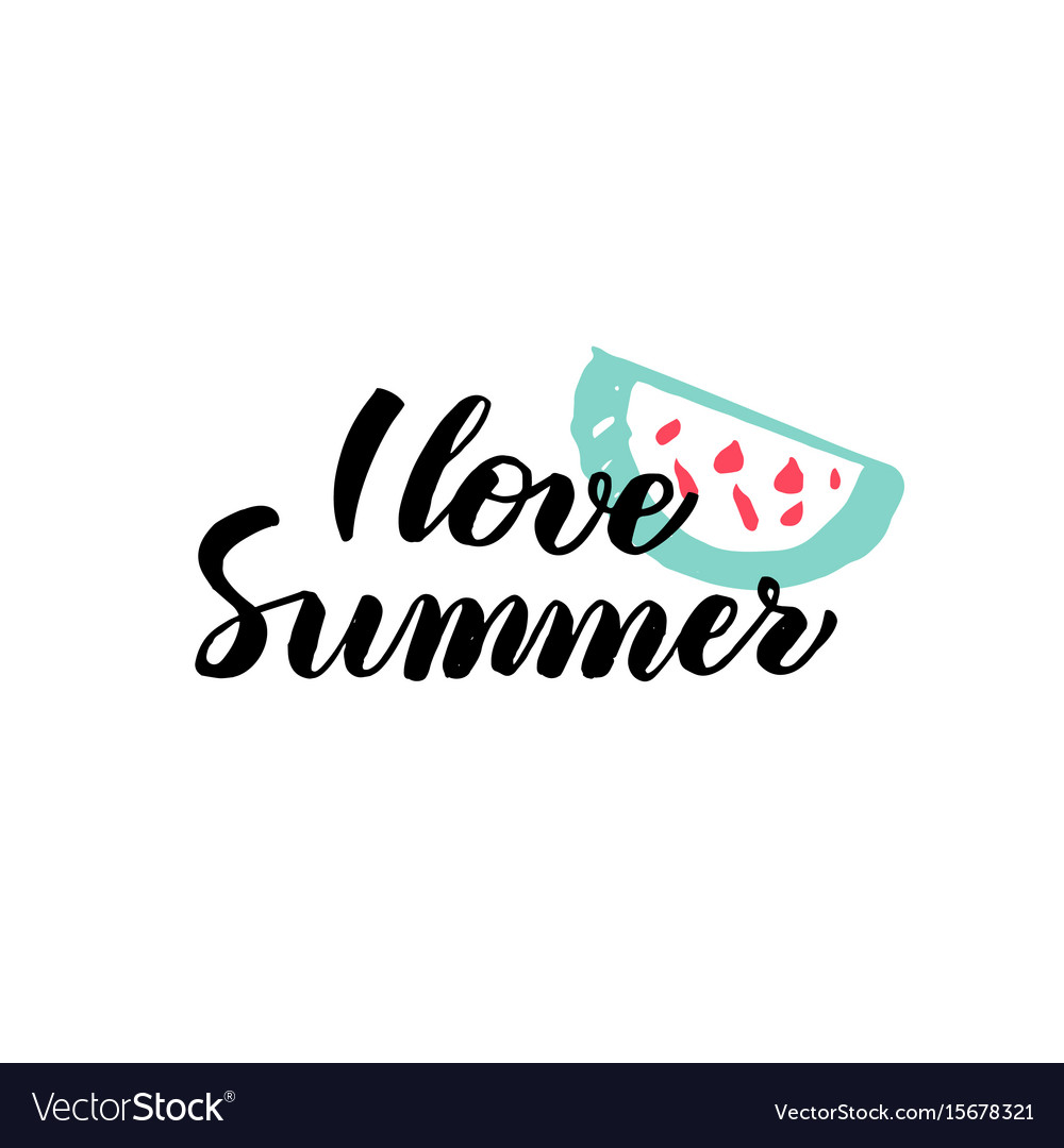 Love summer calligraphy vector image