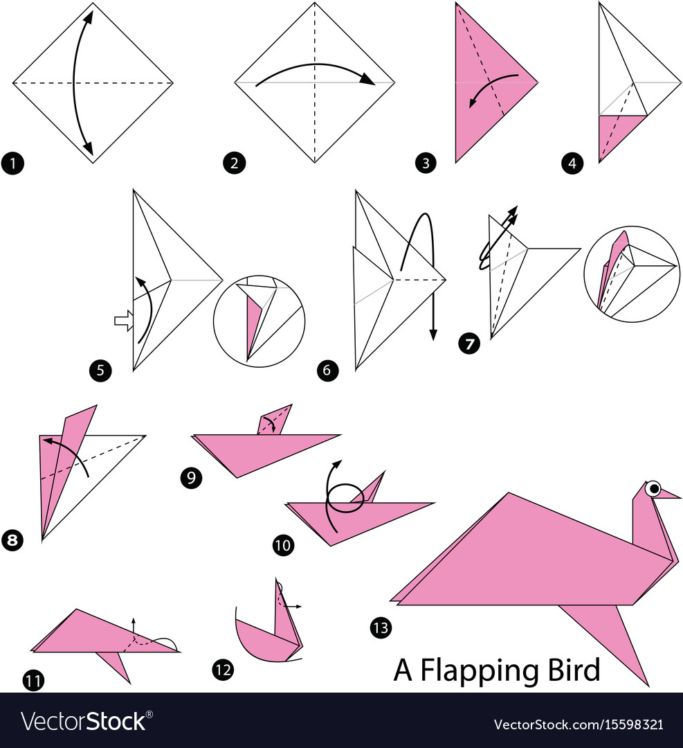 Make origami a flapping bird vector image