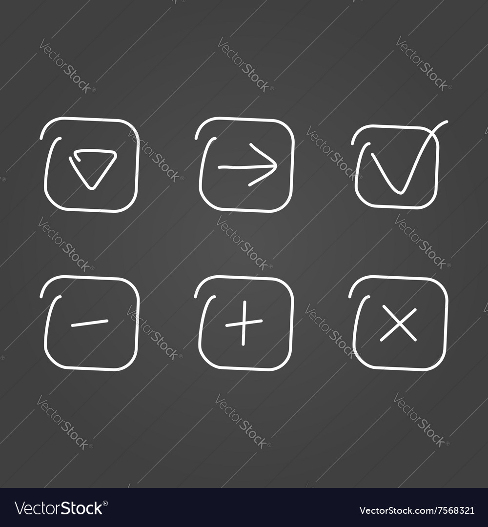 Set icon draw effect vector image