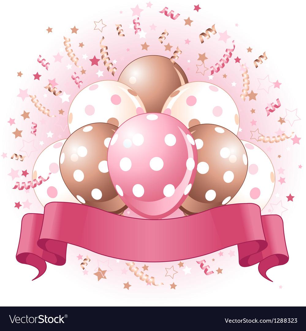 Pink Birthday balloons design vector image