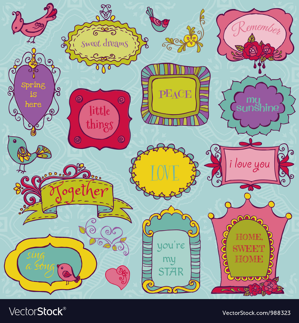 Sweet Doodle Frames with Birds and Flower Elements vector image