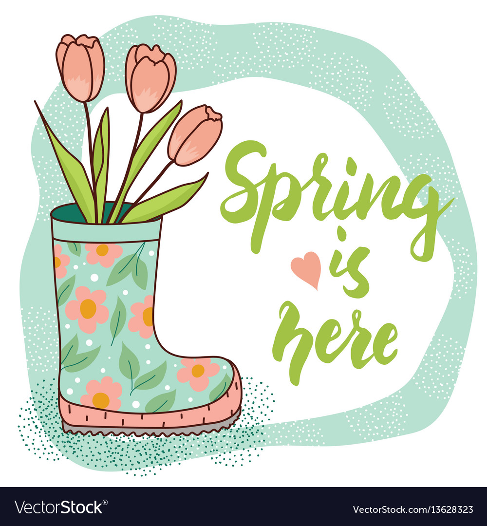 Spring card with rain boot and tulips vector image