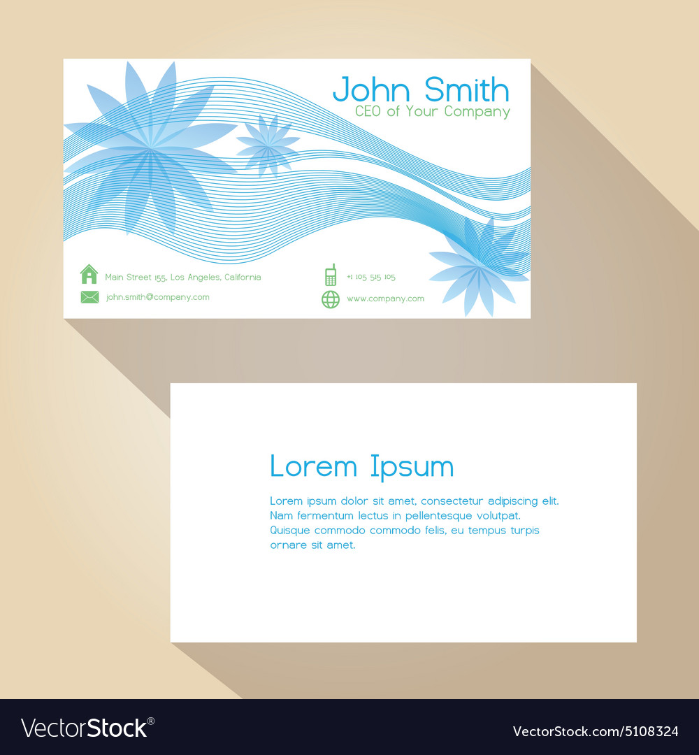Blue lines and flower simple business card design Vector Image