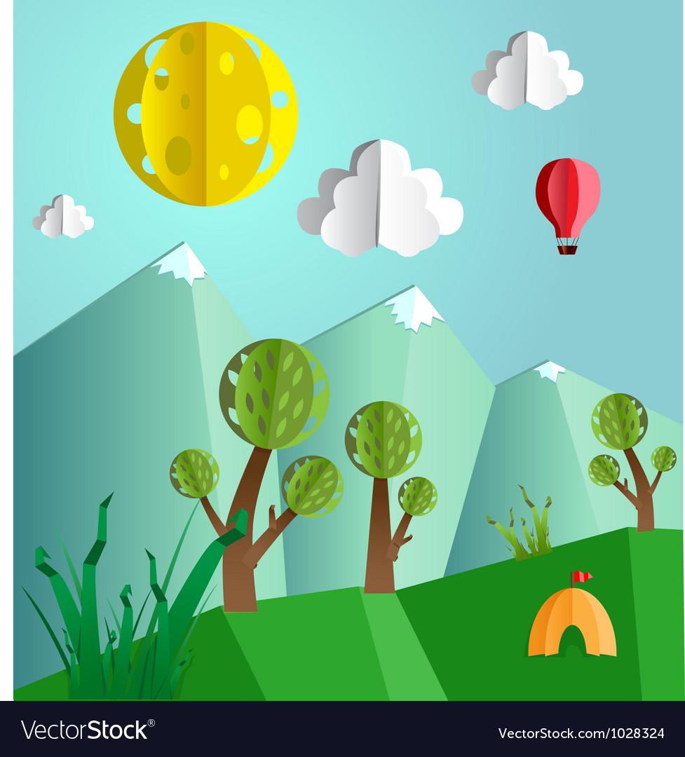 Paper folded landscape vector image
