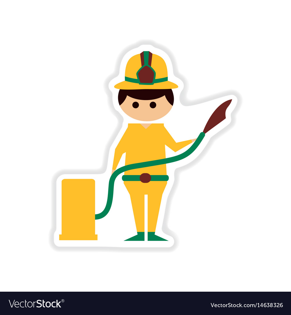 Paper sticker on white background male firefighter