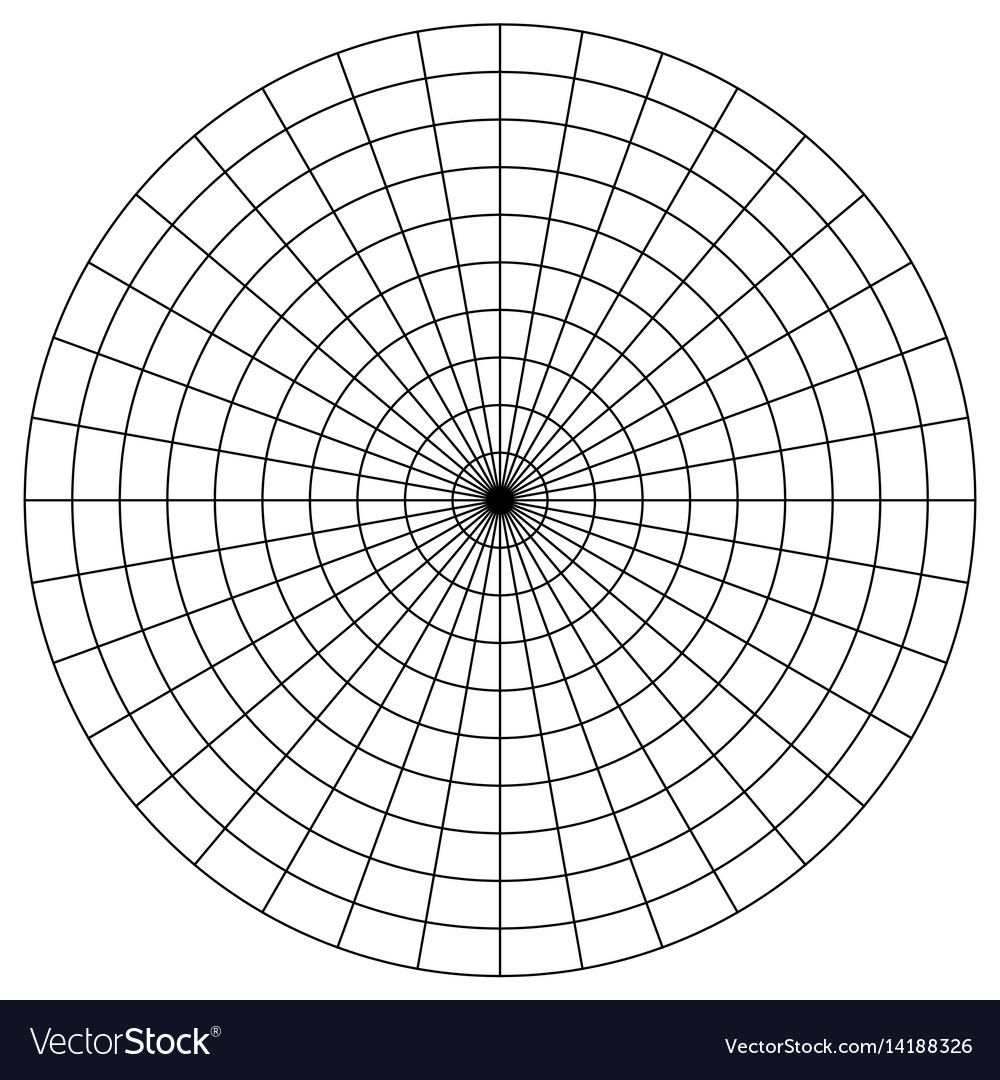 Blank polar graph paper protractor pie chart vector image nvjuhfo Choice Image