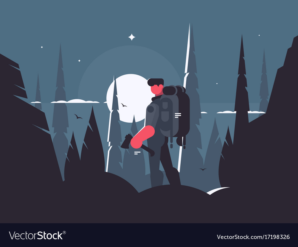 Man traveler in night hike vector image