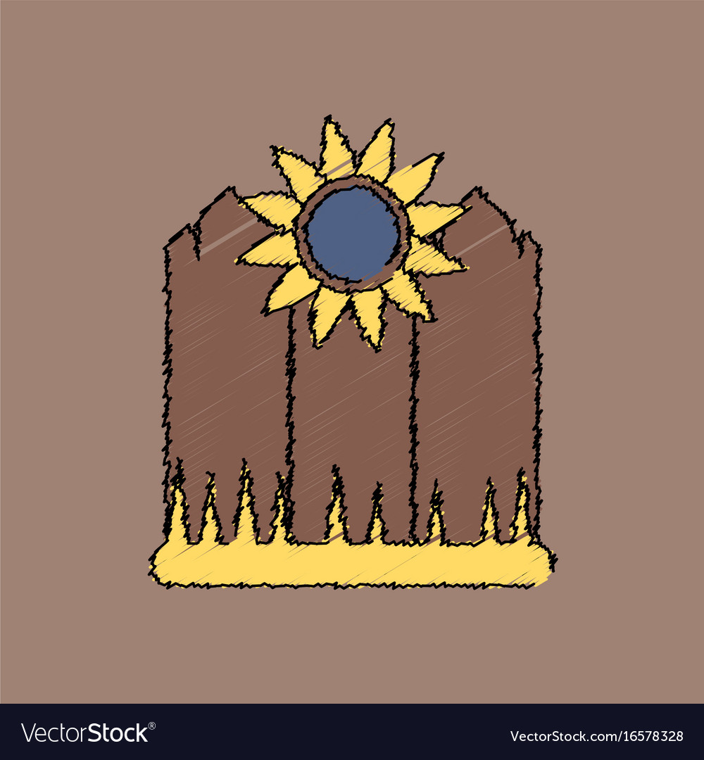 Flat shading style icon fence and sunflowers