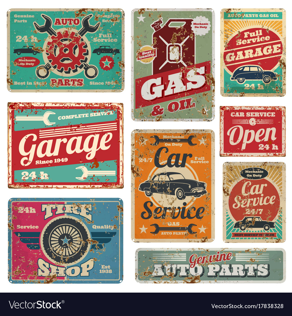 Vintage car service and gas station metal vector image