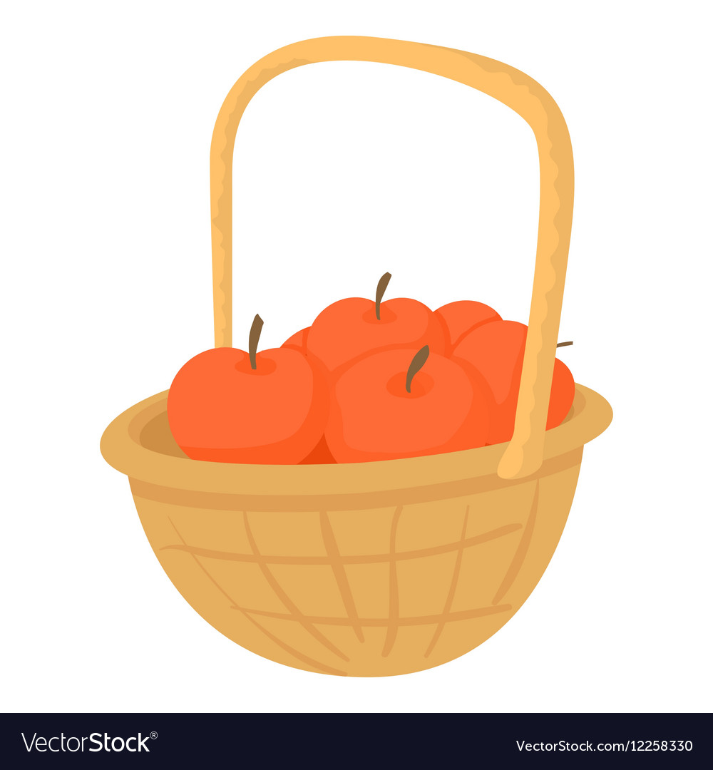 Basket with apples icon cartoon style vector image