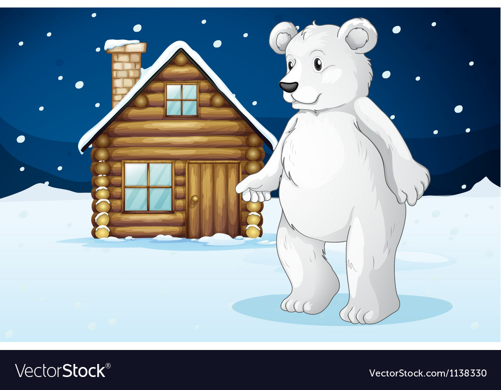 Cabin and polar bear vector image