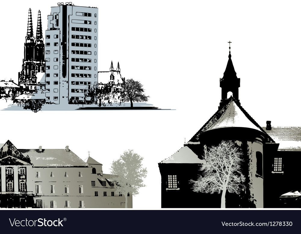 Set of few buildings - Cityscapes vector image
