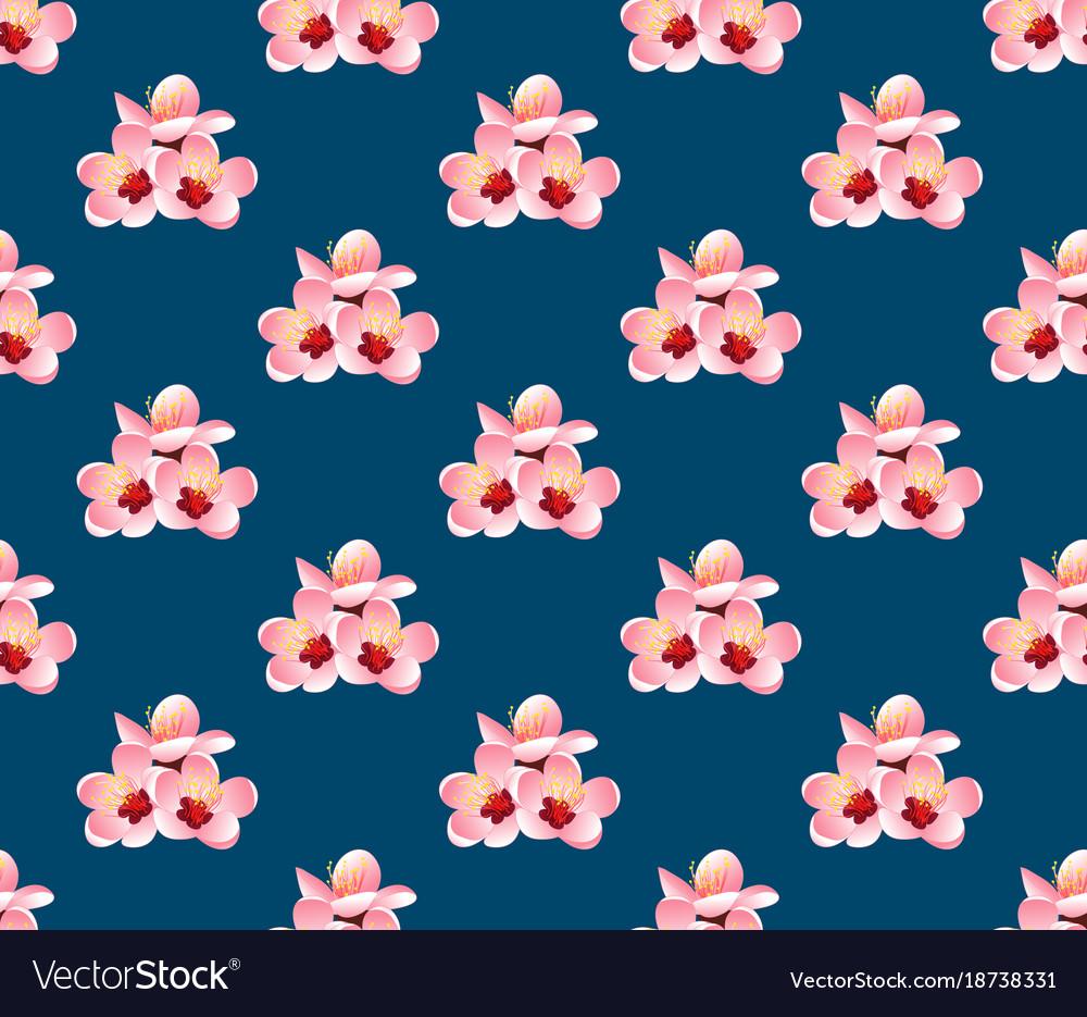 Momo peach flower blossom on indigo blue vector image