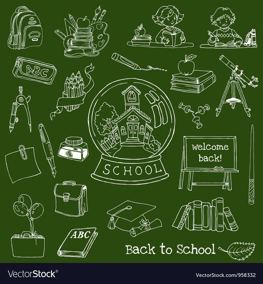 Back to School Doodles vector image